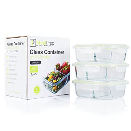 Glass Meal Prep Food Storage Containers Set u2013 2 Compartment Dishes with Extra High Divider -  sc 1 st  Amazon.com & Amazon.com: Glass Meal Prep Food Storage Containers Set - 2 ...