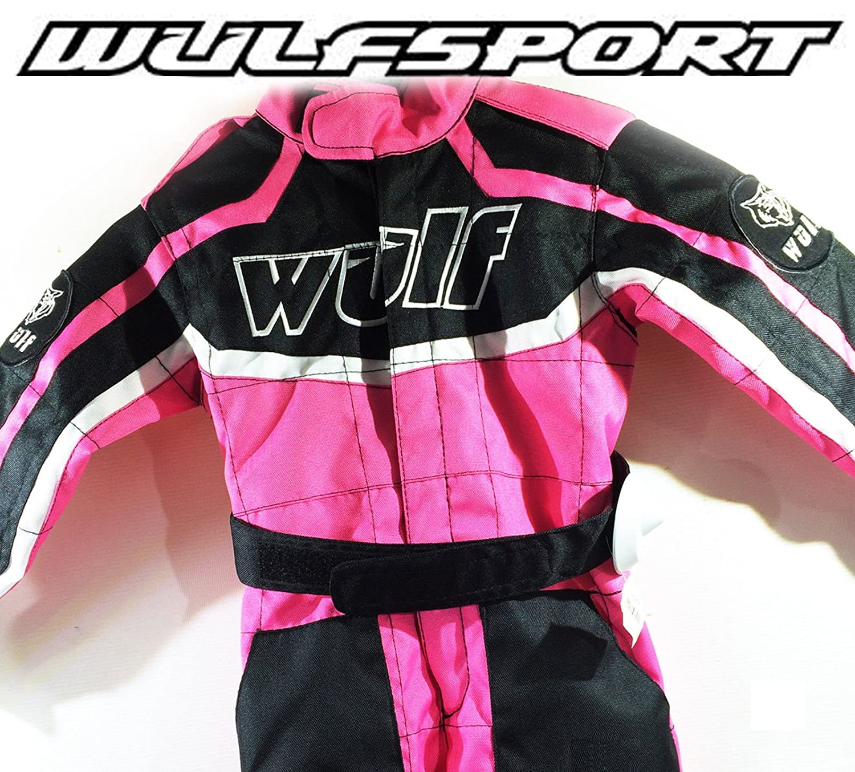 Rosa WULFSPORT Junior 1 pezzo Kart Suit Bambini Quad Corsa Suit MX ATV Jersey S 5-6 Anni Pantaloni Bambini tuta