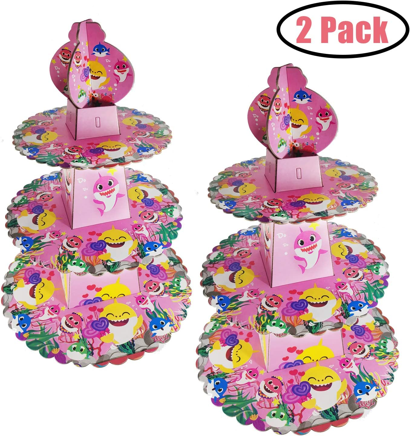 2 PCS Baby Shark Cake Stand Party Supplies, 3 Tier Baby Shark Cardboard Cupcake Stand, Dessert Cupcake Holder for Kids Birthday Party, Gender Reveal Party, Baby Shower, Shark Themed Party(Pink)
