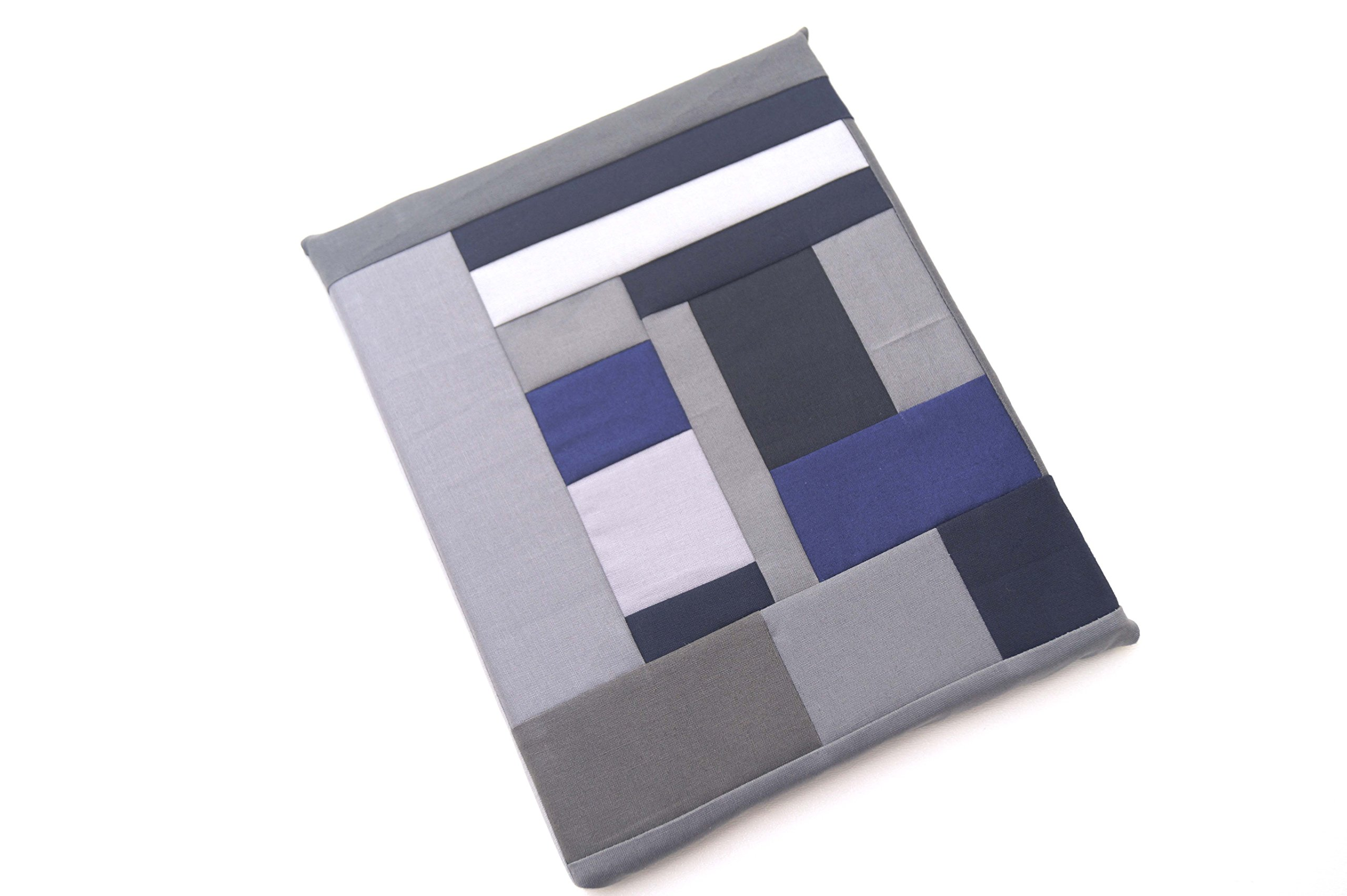 Abstract Fabric Patchwork Wall Art in Shades of Blue and Grey