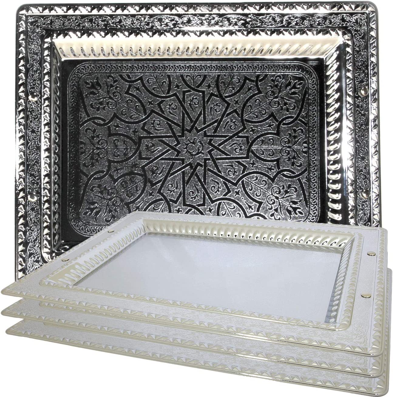 Maro Megastore (Pack of 4) 14.2-Inch x 10.6-Inch Rectangular Chrome Serving Tray Floral Engraved Decorative Victoria Style Wedding Birthday Buffet Party Dessert Food Wine Plate #2770 S TS-017