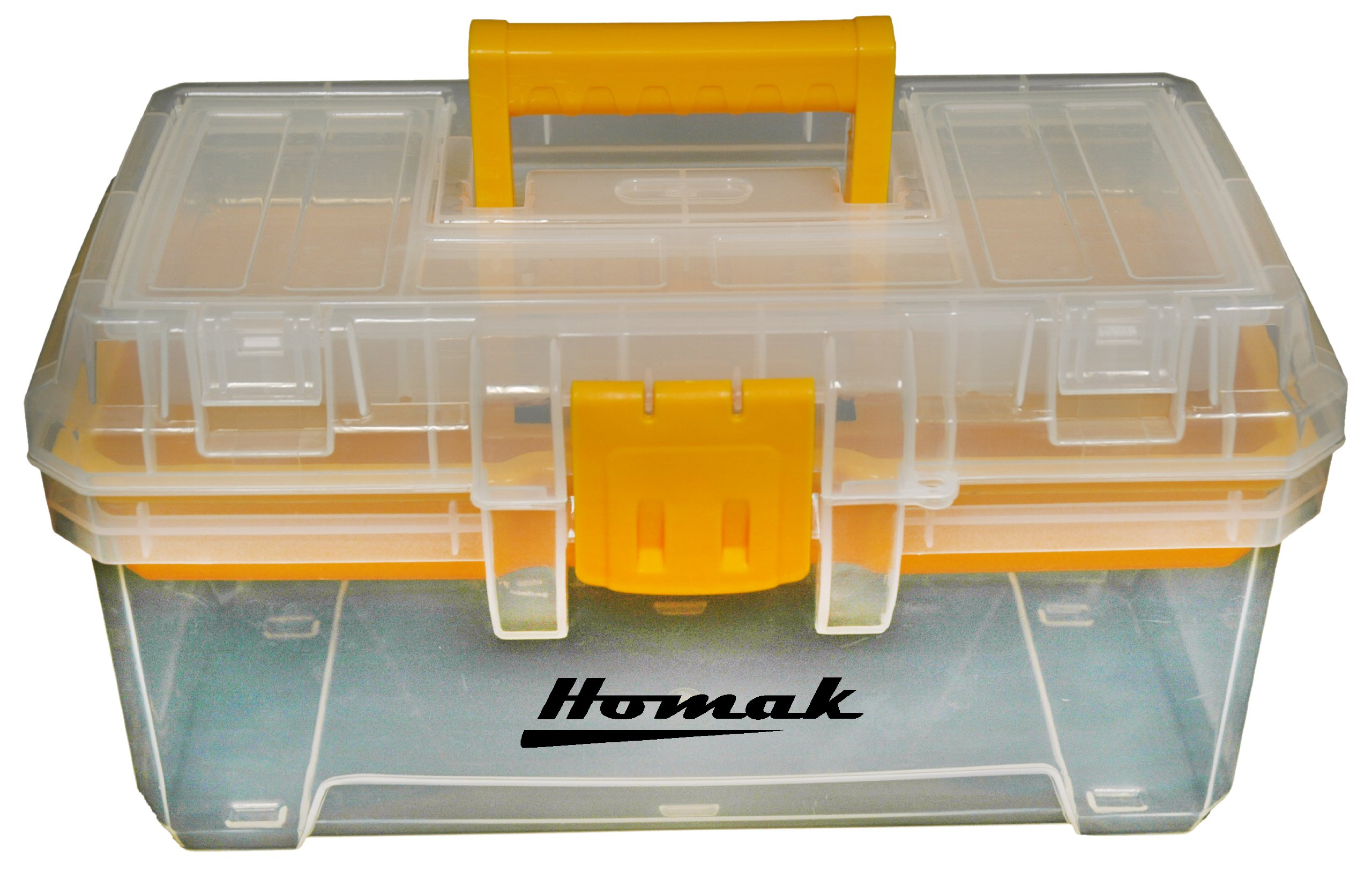 Homak 15-1/2-Inch Plastic Transparent Toolbox with Tray, TP00115088 by HMC Holdings LLC - Homak
