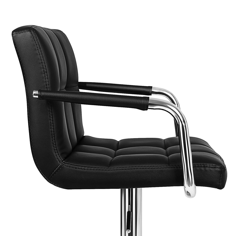 Black LJB93BUK SONGMICS 2 x Bar Stools 360 Degree Rotary Soft Padded Chairs with Chromed Framework