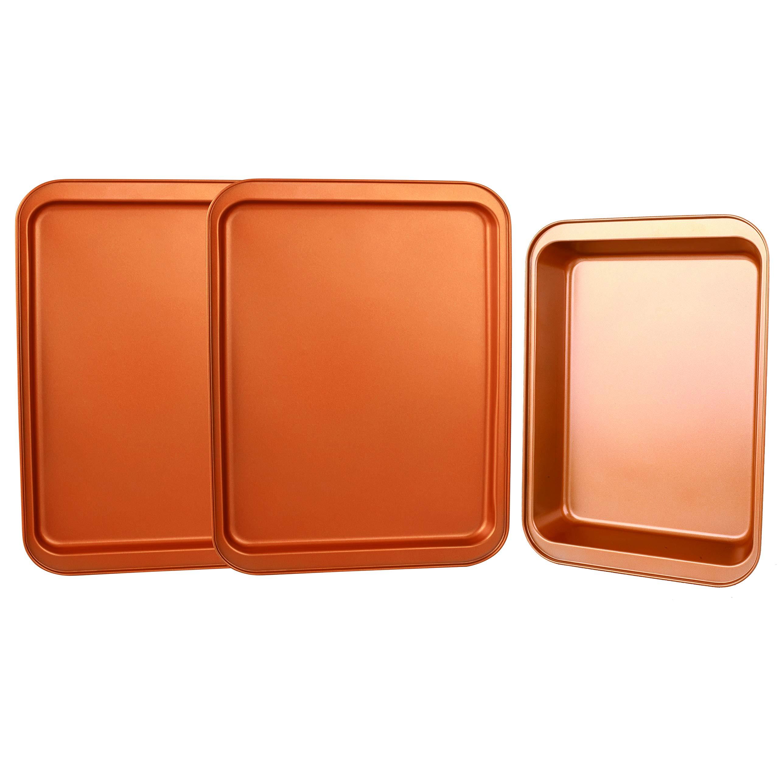 CopperKitchen Baking Pans - 3 pcs Toxic Free NONSTICK - Organic Environmental Friendly Premium Coating - Durable Quality - Rectangle Pan, Cookie Sheet - BAKEWARE SET (3) by CopperKitchenUSA (Image #9)