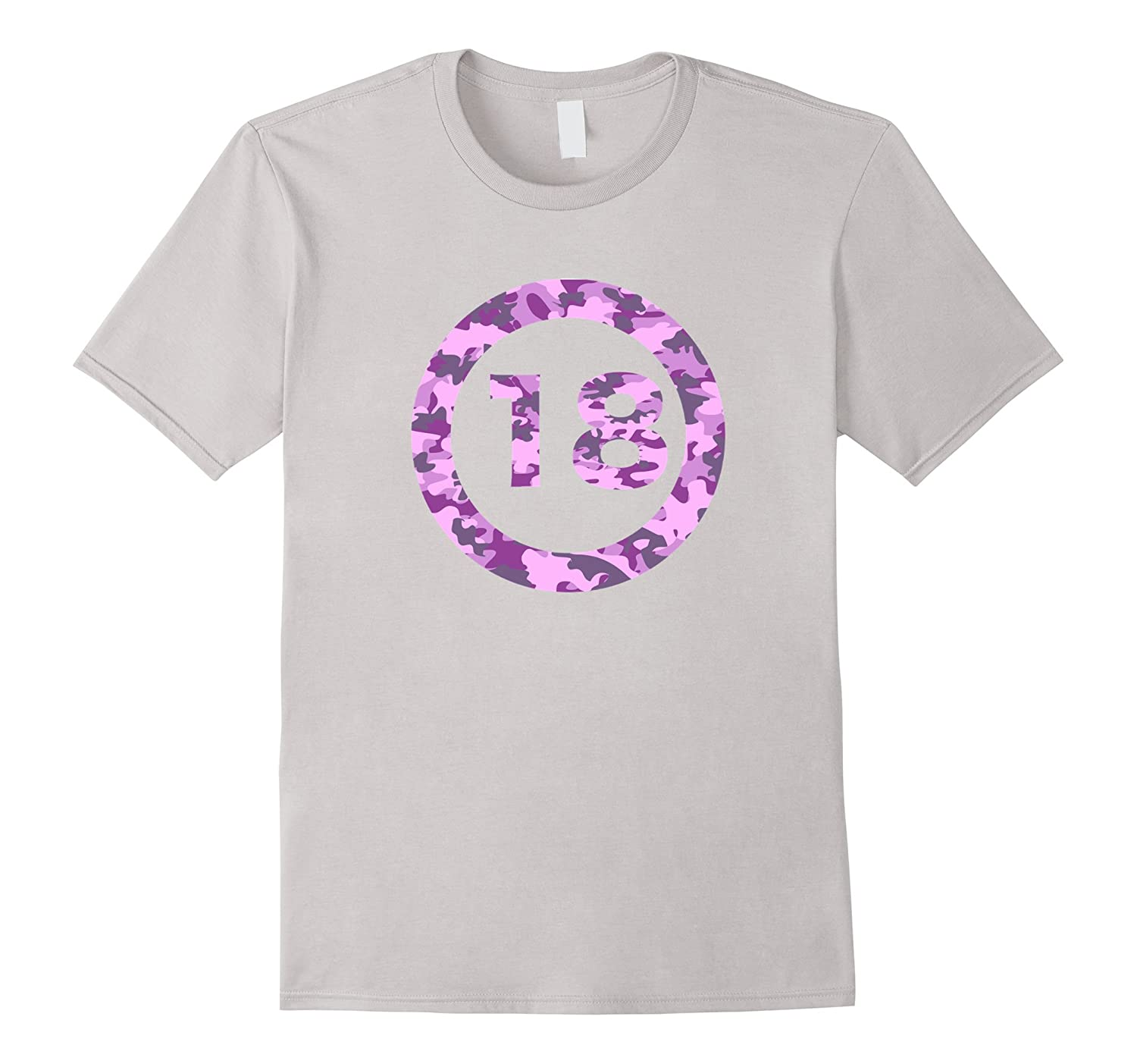 Birthday 18 in pink camouflage circle t-shirt-PL