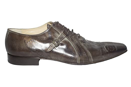 1078 Italian mens brown-taupe lace up shoes with buckle and decorative stitching