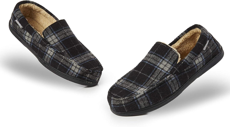 Dunlop Zapatillas Casa Hombre | Pantuflas Estilo Mocasines Cerradas | Zapatillas de Casa Invierno Calientes Suela de Goma Dura | Regalos Originales para Hombre