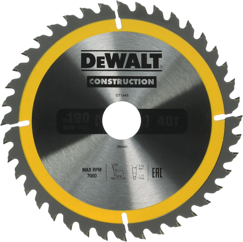 Dewalt DT1945-QZ Hoja para sierra circular port/átil para construcci/ón 190 x 30 mm 40D ATB 10/º