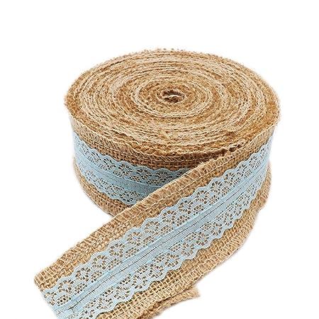 10M//Roll Natural Jute Burlap Hessian Ribbon Lace Trims Tape Rustic Wedding Decor