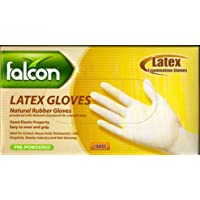FALCON LATEX EXAMINATION GLOVES - HIGH QUALITY - PRE-POWDERED - LARGE SIZE - 100/PACK - IDEAL FOR SCHOOL, HOUSE HOLD…