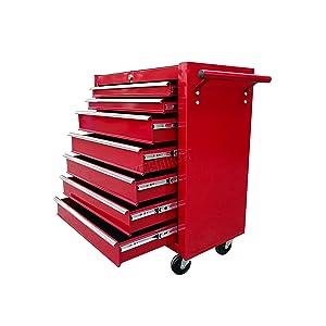 FoxHunter Metal Tool Box Chest Cabinet Portable Rolling Storage Organizer Garage Steel Mechanic Metal Cart Toolbox Red TBM02 New