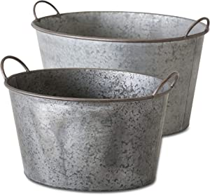 WHW Whole House Worlds Farmers Market Zinc Planters, Set of 2, Galvanized Metal, Oval Basin Tubs, Rolled Rims, Rustic Finish, Vintage Wash Basin Style, 22 and 18 Inches