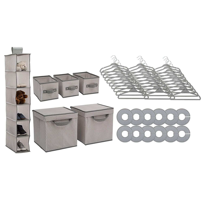 Delta Children Nursery Storage 48 Piece Set - Easy Storage/Organization Solution - Keeps Bedroom, Nursery & Closet Clean, Grey