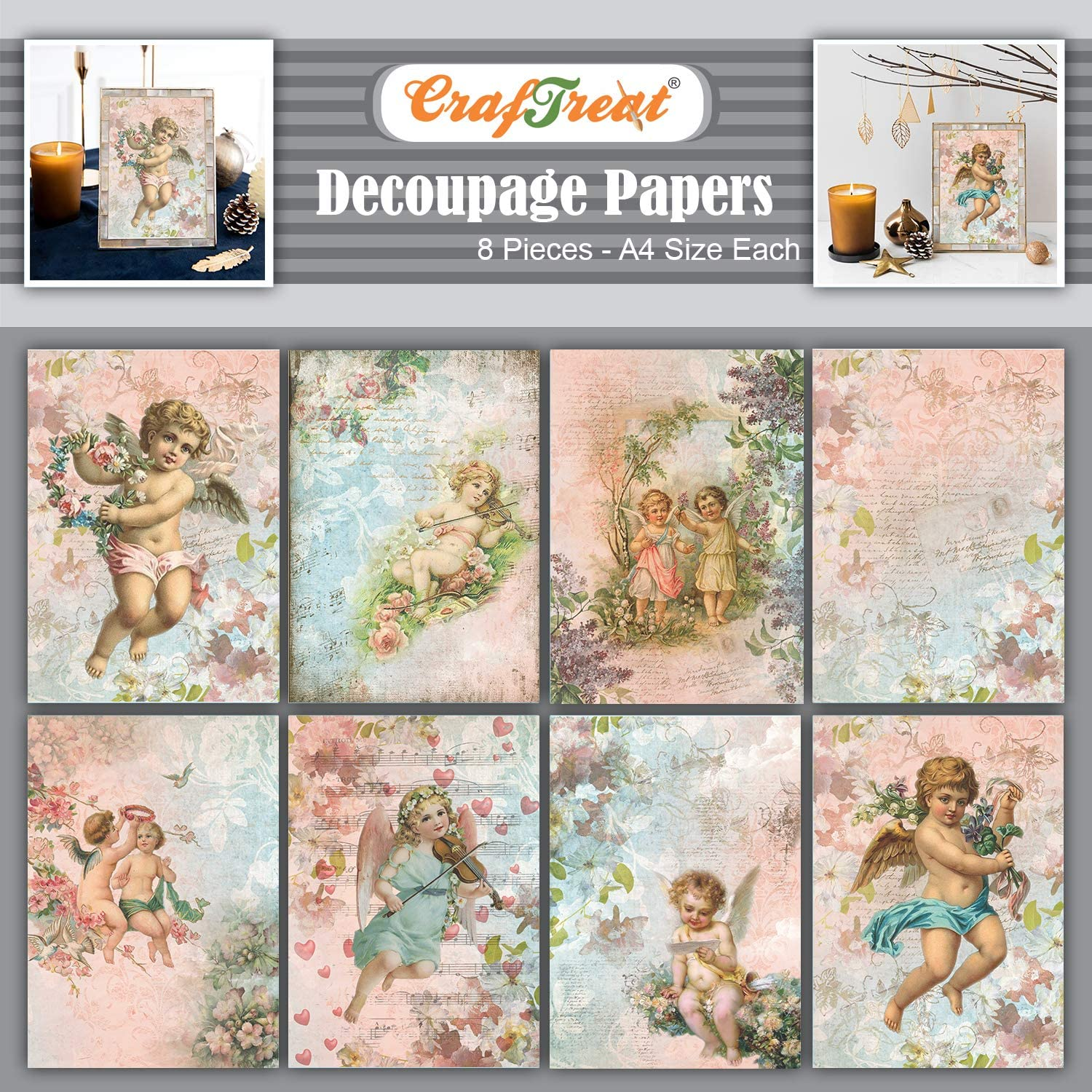 CrafTreat Angel Decoupage Paper for Crafts and Scrapbooking - Angel Set I and II - Size: A4-8 Pcs - Decoupage Paper Angels - Decoupage Paper for Furniture
