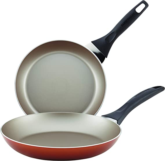Farberware 21949 Dishwasher Safe Nonstick Fry Pan Skillet Set, 8 Inch and 10 Inch, Copper