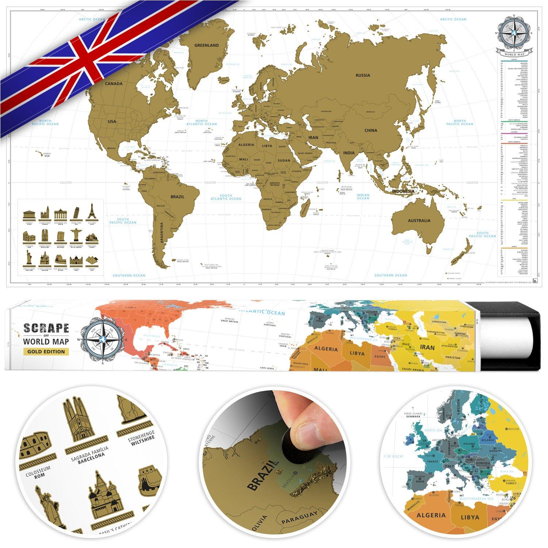 #benehacks Carte du Monde à gratter Poster Mural en Anglais - Décoration carnet de Voyage Aventures avec cartographie détaillée - Noir/Blanc - 84 x 44 cm