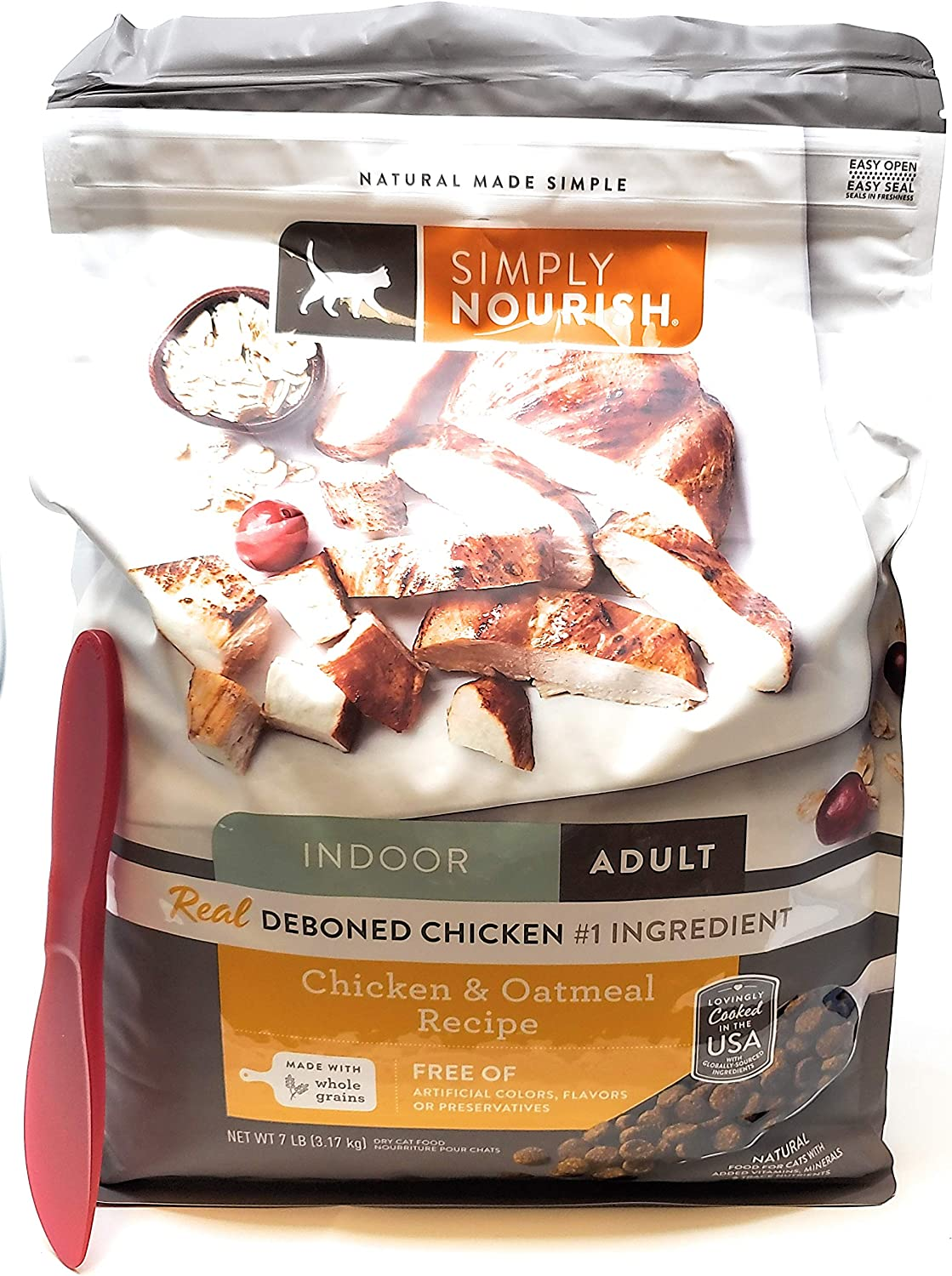 4. Simply Nourish Chicken and Oatmeal Dry Food for Indoor Adult Cats