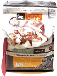 SIMPLY NOURISH Adult Dry Cat Food, Indoor Chicken and Oatmeal 7 Pounds and Especiales Cosas Mixing Spatula