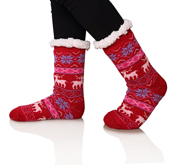 1df13ae3a1 SDBING Women's Warm Cozy Fuzzy Fleece-lined Knee Highs Christmas gift  Slipper socks (Big