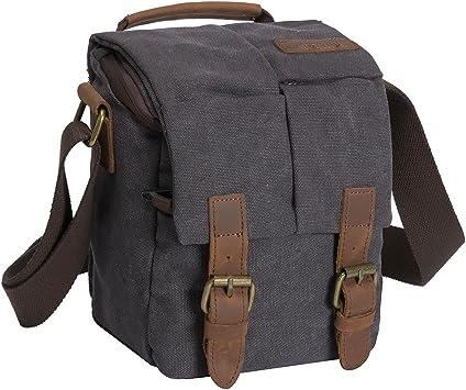 Waterproof Camera Bag Shoulder Camera Bag Canvas Leather Trim DSLR SLR Camera Messenger Bag Color : Gray