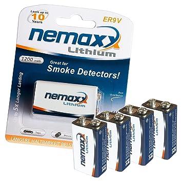 Nemaxx ER9V - Pila de 9 V (1200 mAh, litio), color blanco: Amazon.es: Electrónica