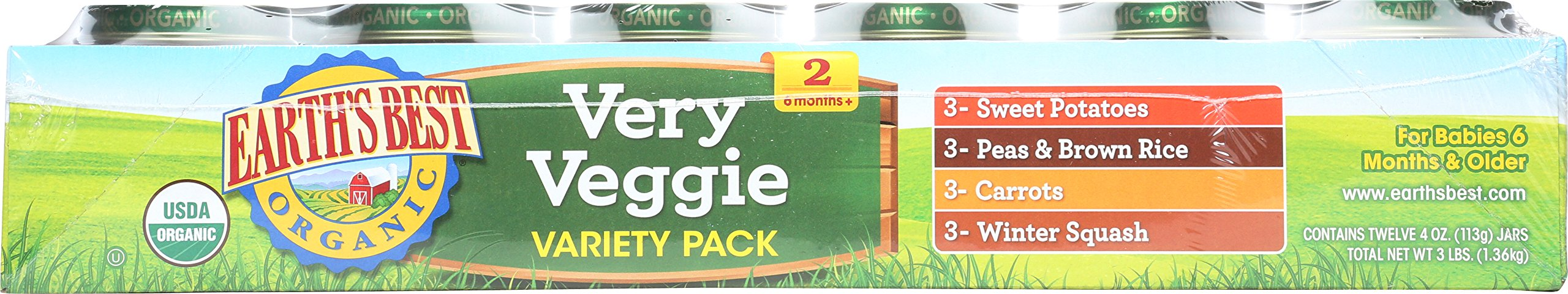 Earth's Best Organic Stage 2, Very Veggie Variety Pack, 12 Count