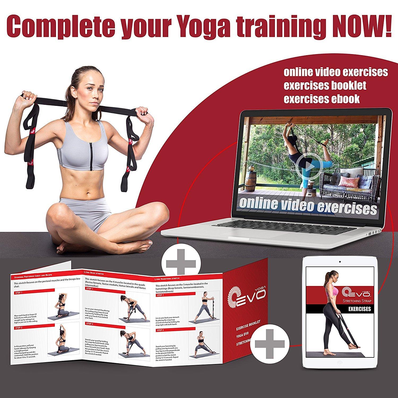 Yoga EVO elastische Stretching Strap 8 Fuß durch Yoga EVO + Tragetasche (Black)