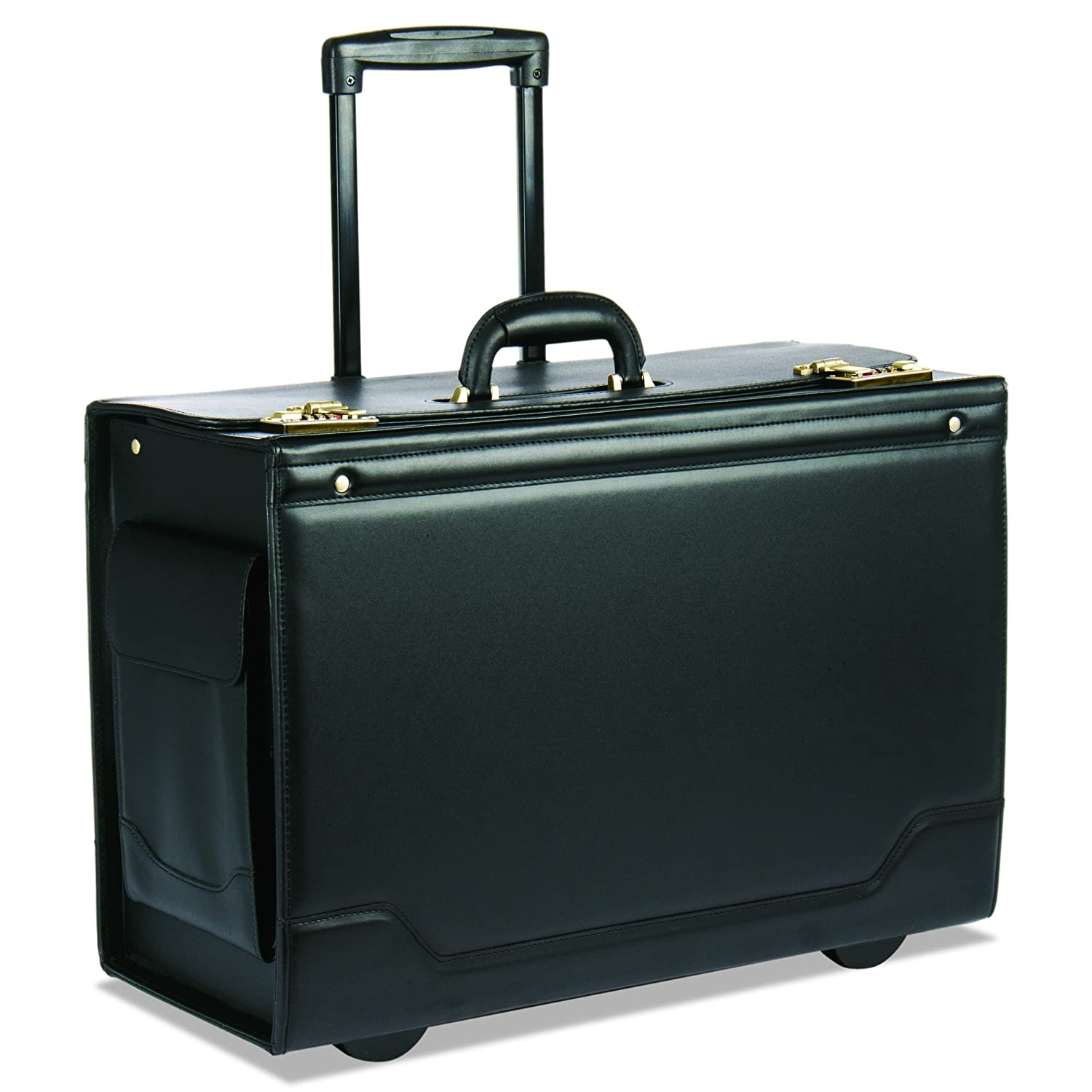 Stebco Leather Trim Wheeled Catalog Case Leather-Trimmed Tufide Black 341626BLK