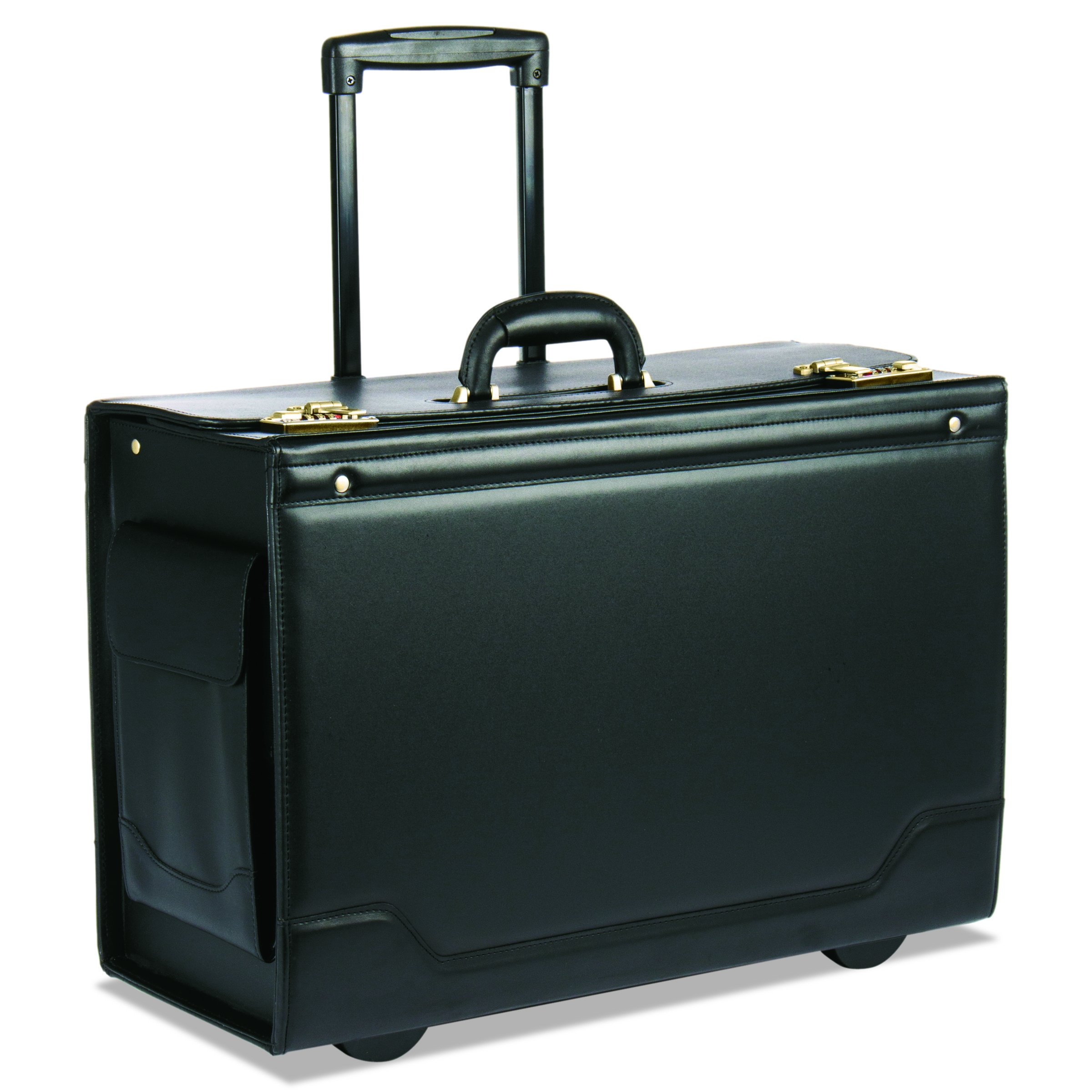 STEBCO 341626BLK Wheeled Catalog Case, Leather-Trimmed Tufide, 21-3/4 x 15-1/2 x 9-3/4 Inches, Black by Stebco