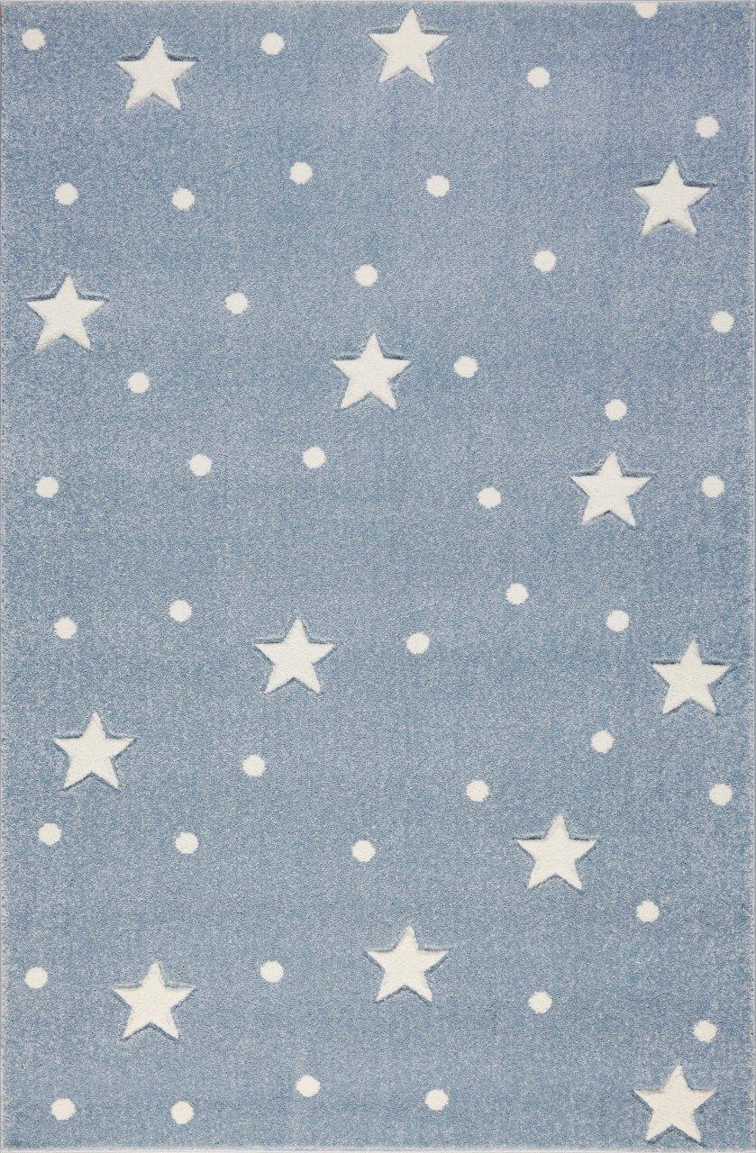 Livone Pflegeleichter Kinderteppich Baby Teppich Kinderzimmer Sterne Punkte in blau grau Weiss Größe 120 x 170 cm