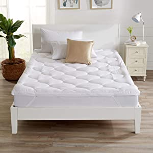 """Great Bay Home Ultra-Soft Hypoallergenic Mattress Topper. 2-Inch Thick Mattress Pad Cover. Fits Mattresses up to 18"""" Deep. Kyla Collection (Queen)"""
