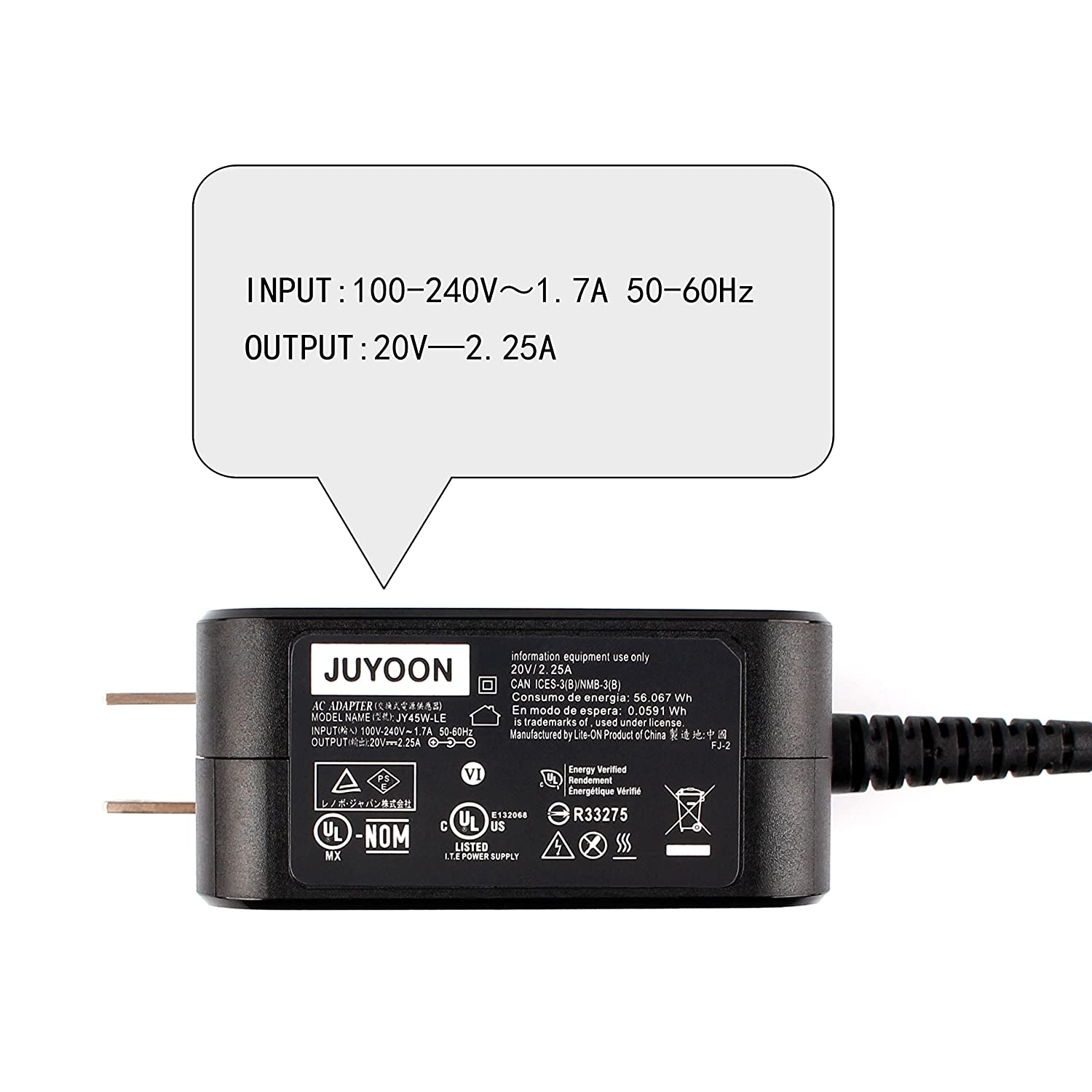 Amazon.com: Juyoon 45W AC Adapter Power Charger for Lenovo ...