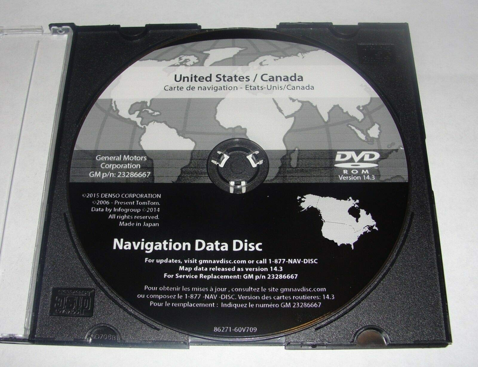 2016 GM North America Navigation DVD Map Update GM p/n: 23286667 Ver 14.3