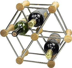 Stylish Wine Bottle Holder, Bamboo and Stainless Steel Wine Rack Bottle Shelf, Free Combination Removable DIY