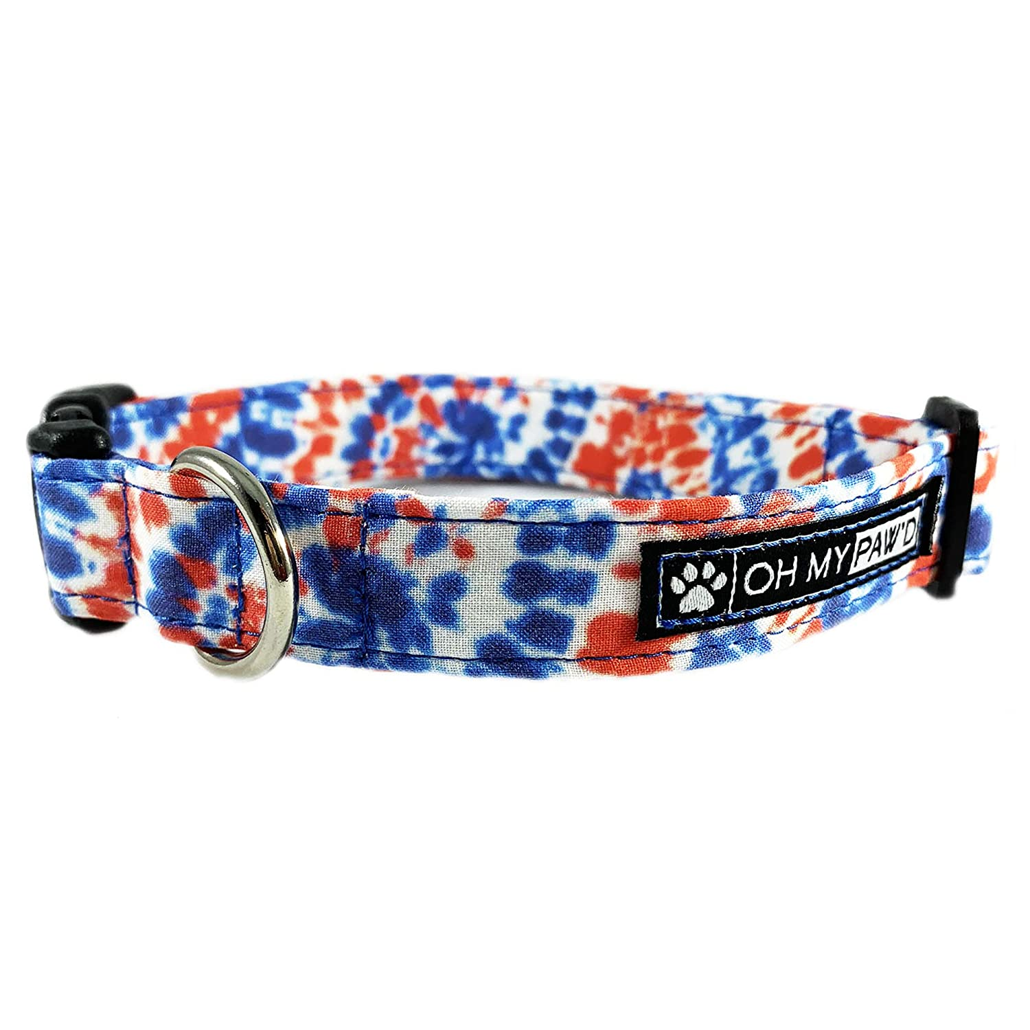 Patriotic Tye Dye Dog or Cat Collar for Pets Size Extra Small 5//8 Inch Wide and 8-12 Inches Long by Oh My Pawd