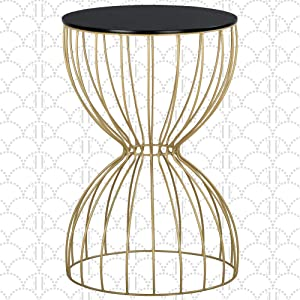 "Elle Decor Cami Round Metal Side Table, Hourglass Shape, Modern Accent Nightstand for Living Room, 15"" Wide, Gold/Black"