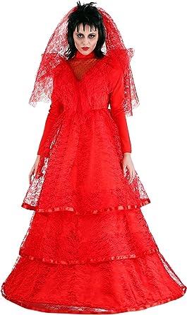 Amazon Com Women S Ghostly Wedding Dress Plus Size Red Gothic Wedding Dress Costume Clothing