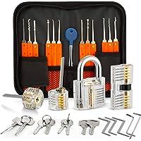 Eventronic 18+4 Lock Pick Set, 18-delige Lock Picking Tools met 4 transparante trainingssloten en handmatige en…