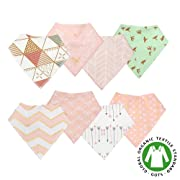 Baby Bandana Drool Bibs that Snaps Cotton for Drooling & Teething Girls,Super Soft High Absorption with Nikel-Free,8-Pack (Pink & Triangle)