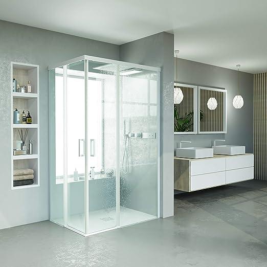 VAROBATH.Mampara de ducha rectangular sin perfil inferior con cristal transparente 6 mm y perfil aluminio blanco mate. (70 a 90x 120 a 129 cm.): Amazon.es: Bricolaje y herramientas