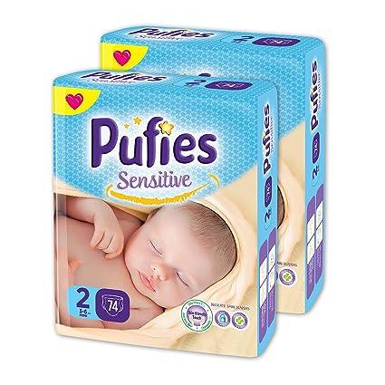 Pañales para bebés Pufies Sensitive - Paquete de pañales con 148 unidades de la talla 2