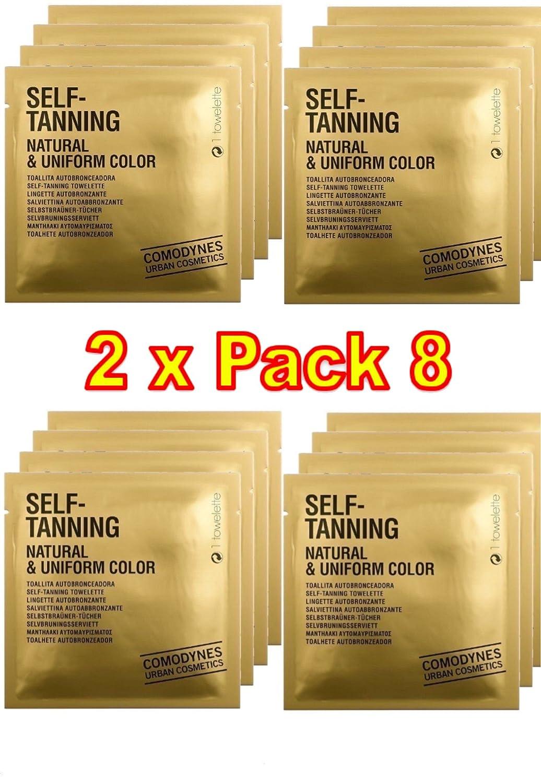 Comodynes-Auto-abbronzante naturale + uniformante colore(Confezione da 2x 8salviette auto-abbronzanti) 7155