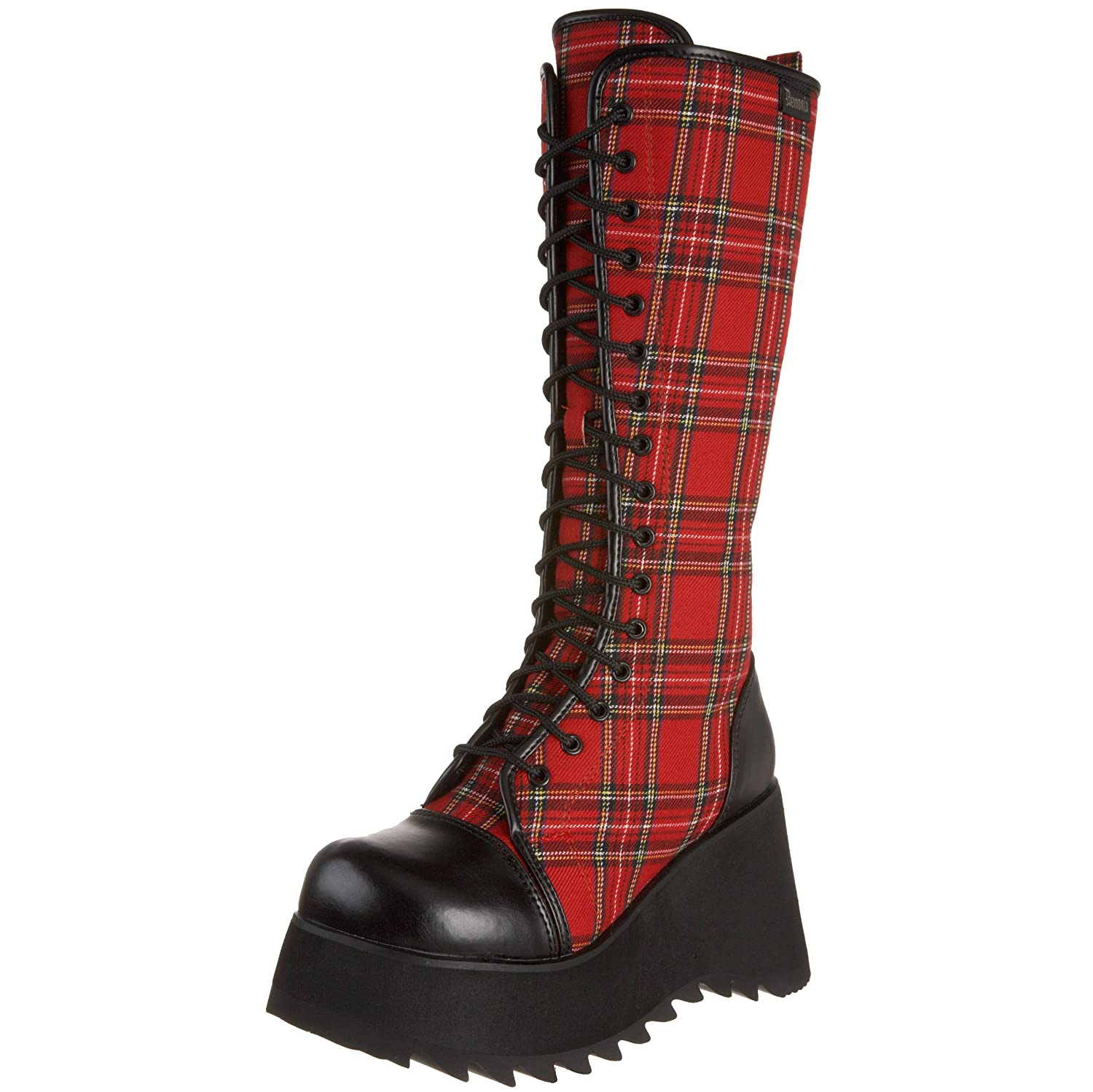Amazon.com | Demonia By Pleaser Women's Scene-100 Boot, Black Polyurethane/ Plaid, 6 M US | Mid-Calf