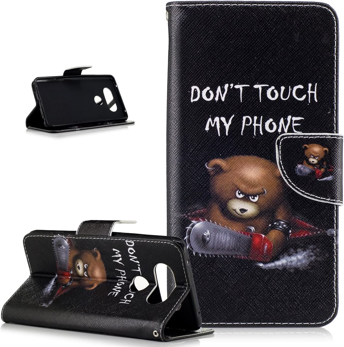 LG V20 Case,LG V20 Cover,ikasus Colorful Painted Premium PU Leather Fold Wallet Pouch Case Flip Stand Credit Card ID Holders Case Cover for LG V20,Chainsaw Bear Don't Touch Py Phone