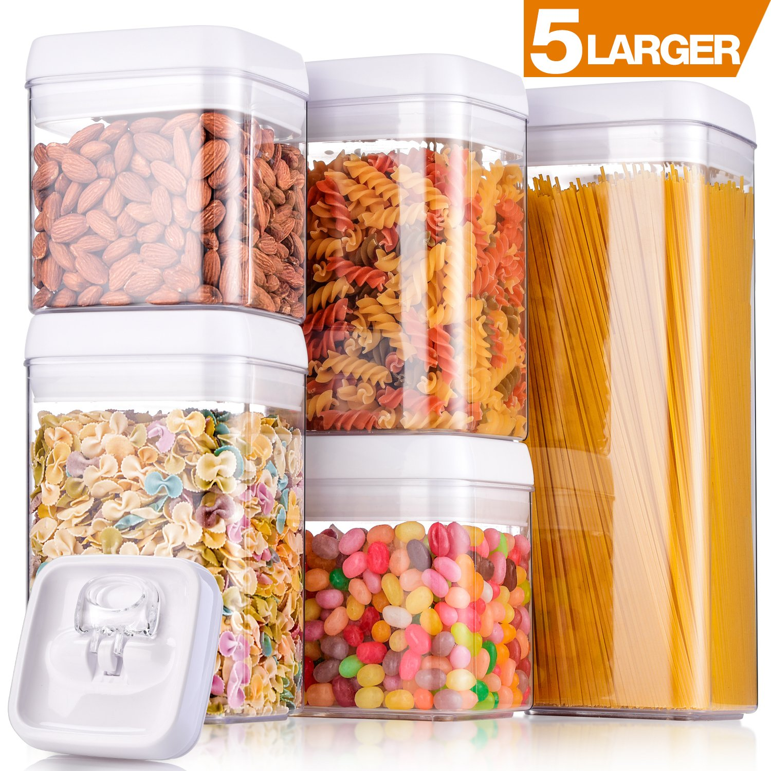 "Larger Storage Container, [5-Piece] Senbowe Air-Tight Food Storage Container Set - BPA Free - Durable Plastic - Clear Visual Window with White Lids - Keep Food Dry & Fresh with Easy Lock (4.8'' x 4.8"")"