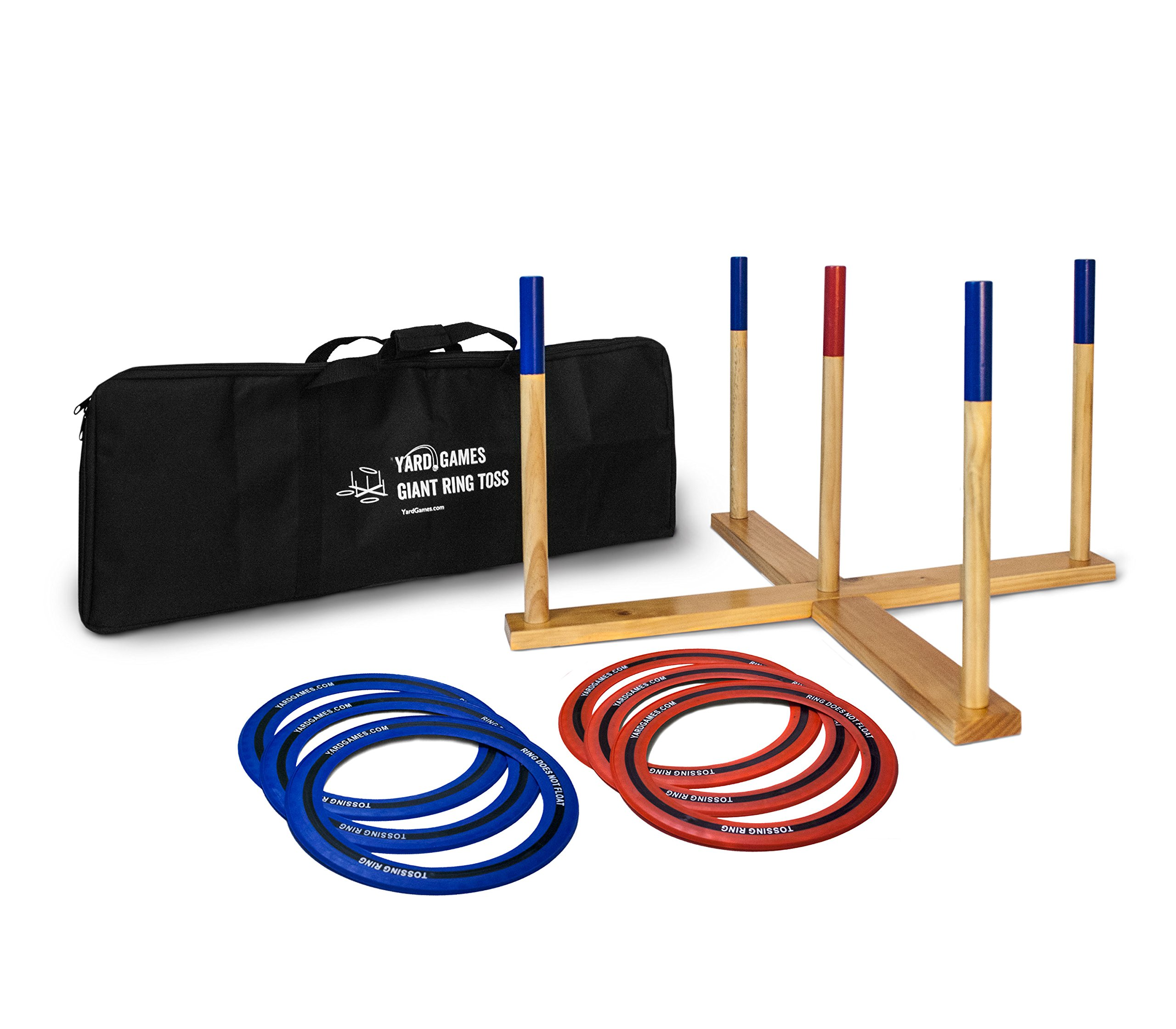 Yard Games Giant Ring Toss with Soft-Touch Tossing Rings and Finished Wood Target by Yard Games