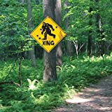 """K EXCLUSIVE Sasquatch Xing Sign - 24-Gauge Metal Construction, Vivid Artwork, Two Mounting Holes - Dimensions 17 1/2"""" x 17 1/"""