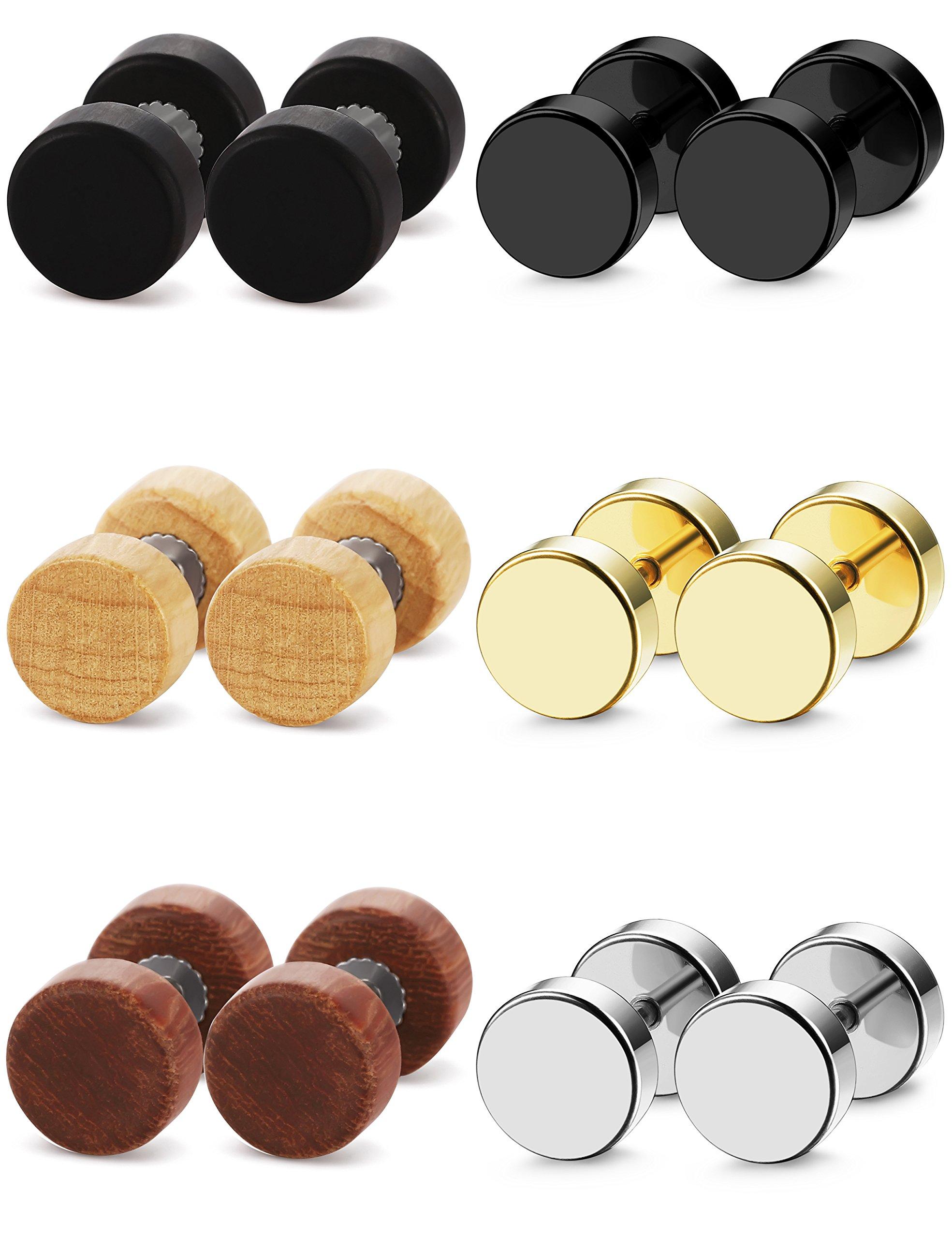 FIBO STEEL 6 Pairs Stud Earrings for Men Women Ear Piercing Ear Plugs Tunnel 18G,6MM