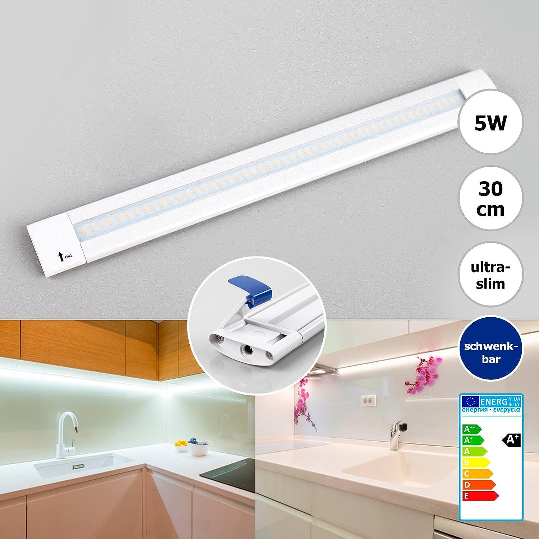 LED Schrankbeleuchtung Lichtleiste Unterbauleuchte Küche warmweiß 30cm 5W schwenkbar Küchenlampe Unterbau Schrankleuchte Schranklampe inkl.Schalter+Netzteil Xtend CL Brilliance [Energieklasse A+]