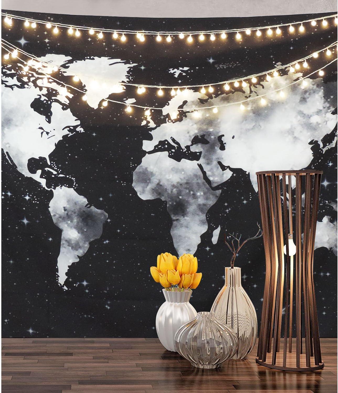BLEUM CADE World Map Tapestry Wall Hanging Starry World Tapestry Black and White Map Tapestry for Living Room Bedroom Dorm Room Decor 59/×82, Black map